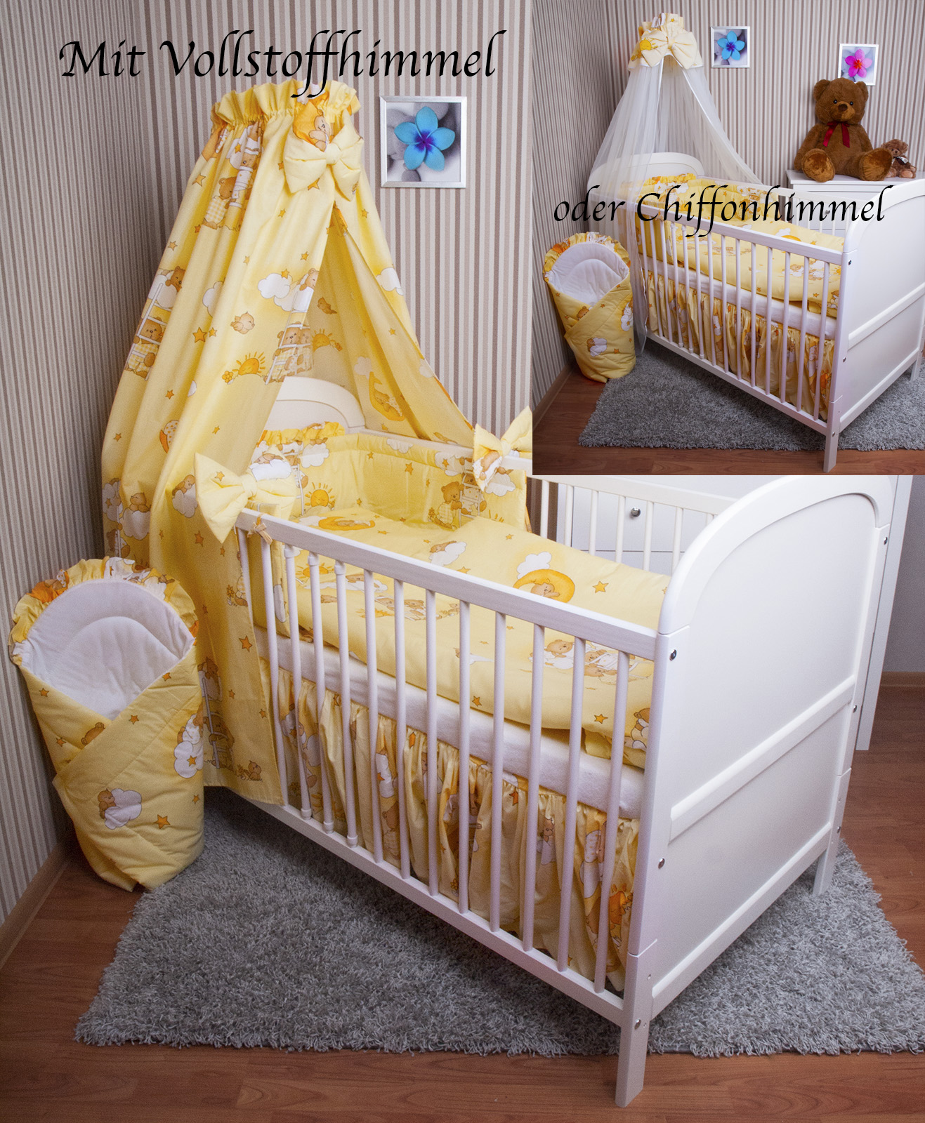 baby bettw sche himmel nestchen bettset 100x135cm f r babybett decke kissen neu ebay. Black Bedroom Furniture Sets. Home Design Ideas