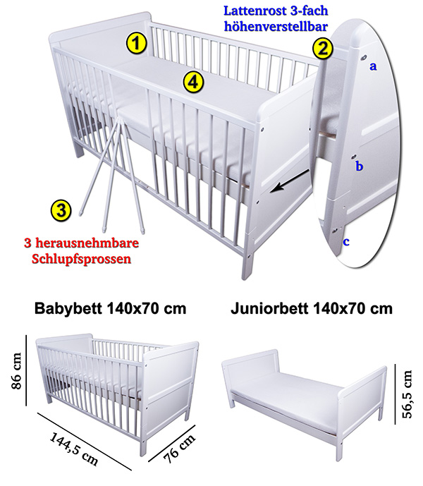 babybett kinderbett gitterbett juniorbett wei umbaubar 140x70 neu ebay. Black Bedroom Furniture Sets. Home Design Ideas