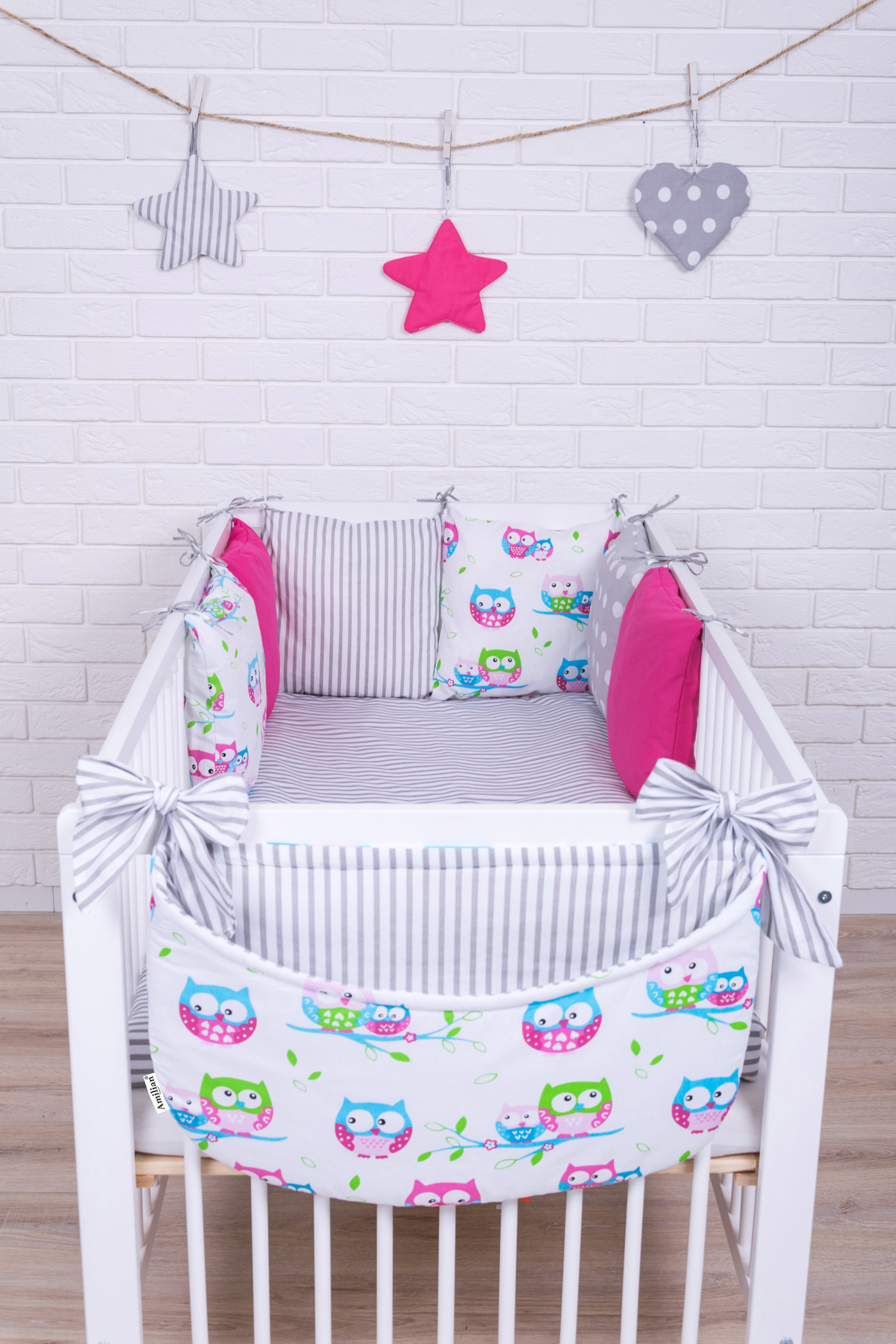 Amilian/® Baby Bettw/äsche Design35 Nestchen Bettset 100x135 f/ür Babybett Decke Kissen Bettumrandung