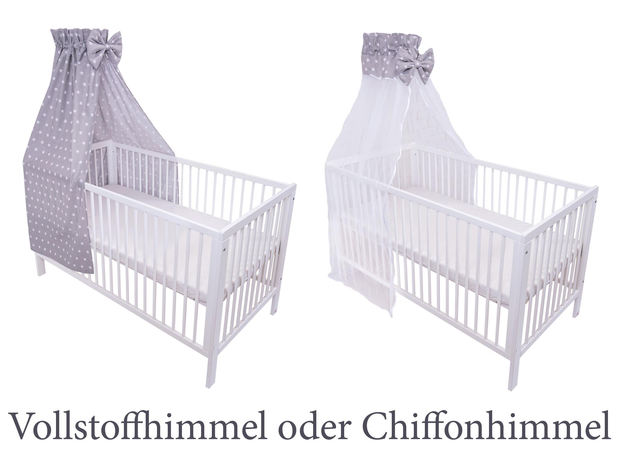Chiffonhimmel mit Freistehende Himmelstange Amilian/® Chiffonhimmel Himmel mit Schleife Betthimmel Sternchen Grau